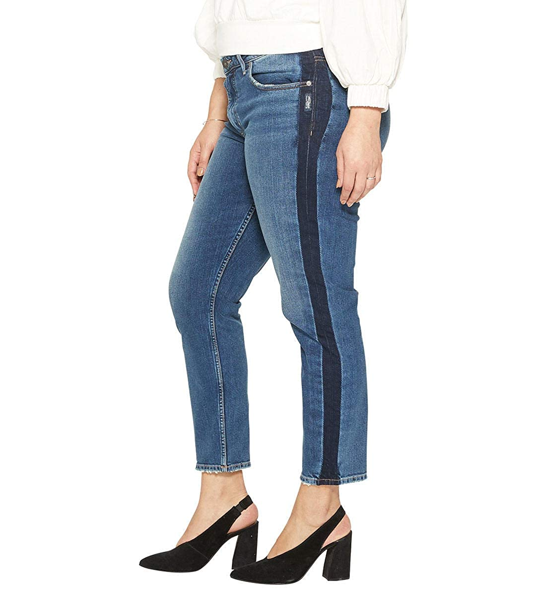 5796fe3d036 Silver Jeans Co. Women s Plus Size Vintage Slim Tuxedo Stripe Jeans at  Amazon Women s Clothing store