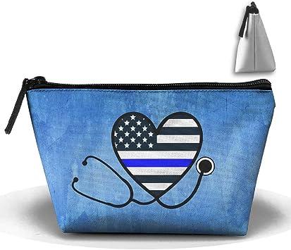 Enfermeras Policía Esposa Línea Delgada Azul Pluma Papelería Estuche Lápiz Bolsa de Maquillaje cosmético Bolsa: Amazon.es: Equipaje