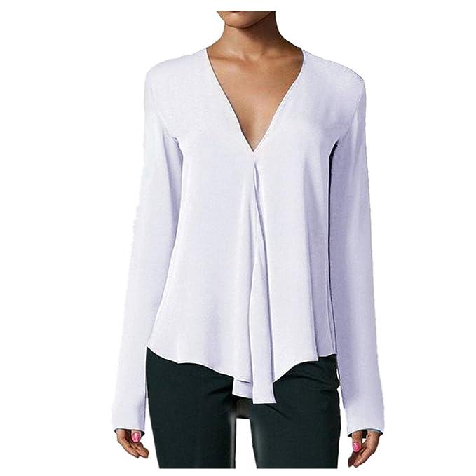 Kword Fashion Camicia Donne Autunno Camicie Solide Casual Maglia Maglietta  Loose Scollo A V Cime Maniche Lunghe 2c7590e24e2b