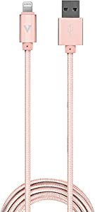 vCharged Pink/Rose Gold 12 FT Longest MFi Certified Lightning Cable Nylon Braided USB Charging Cord Compatible with iPhone & iPad