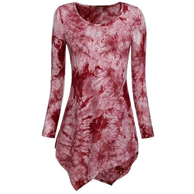 Blusa De Vestir Mujer Tie Dye Flores Espalda Asimetrico Con Volantes Algodón Moda Fiesta Mujer 2017