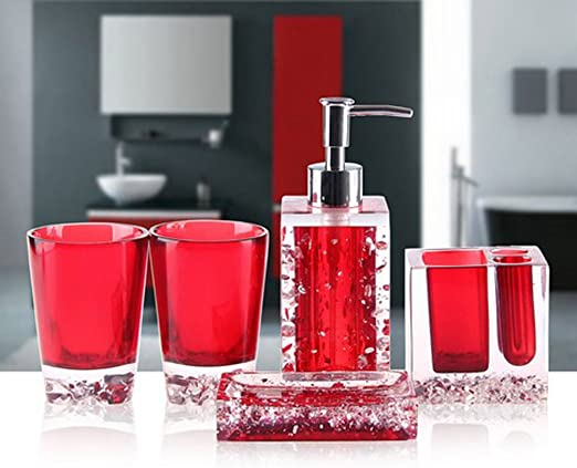 Wandofo Acrylic 4 Piece Bathroom Accessory Set Soap Dispenser Bottle Soap Dish Cup Toothbrush Holder Case Caddy Red