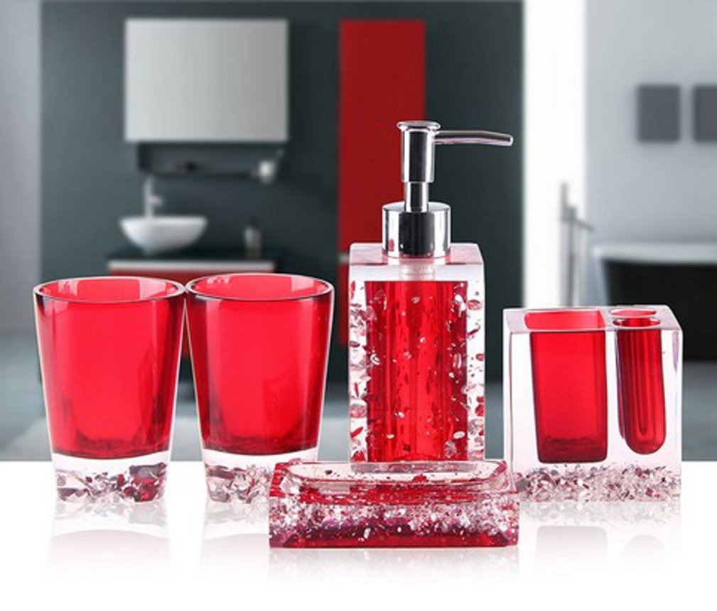 AMSS 5 Piece Stunning Bathroom Accessories Set in Crystal Like Acrylic Tumbler Dispenser Soap Dish Cups,Black