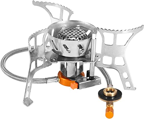 Lixada Camping Gas Stove,Convenient Piezo Ignition,Durable Portable,Split Burner with Gas Conversion Head Adapter and Carrying Case Optional