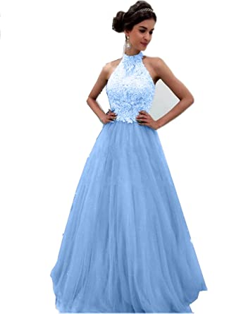 Promworld Womens Long Evening Gowns High Neck Lace Top A-Line Prom Dresses 2017 Blue