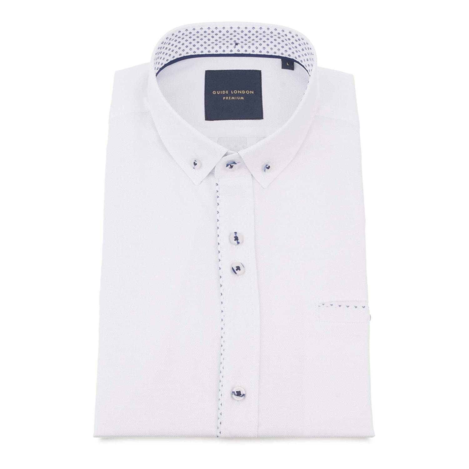 Guide London Pure Cotton Soft and Light Texture Mens Short Sleeve Shirt 3XLarge White