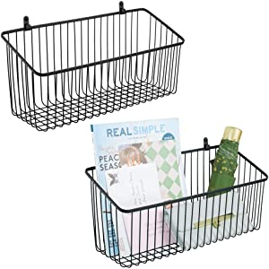 mDesign Portable Metal Farmhouse Wall Decor Angled Storage Organizer Basket Bin for Hanging in Kitchen/Pantry - Store Plastic Bags, Foils, Oils, Sandwich Bags - 2 Pack - Black