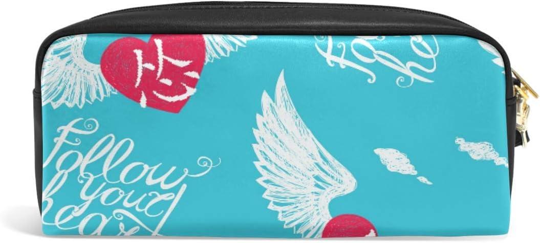 Lettering Wing Heart - Estuche para lápices, diseño de corazón con texto en inglés: Amazon.es: Oficina y papelería