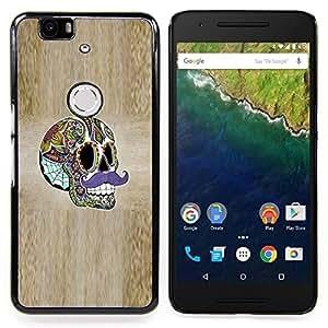 - Sir Moustache Wood Grain Skull Acid/ Duro Snap en el tel????fono celular de la cubierta - Cao - For Huawei Nexus 6P