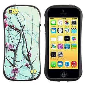 """Hypernova Slim Fit Dual Barniz Protector Caso Case Funda Para Apple iPhone 5C [Pétalos de las flores cerezo floreciente""""]"""