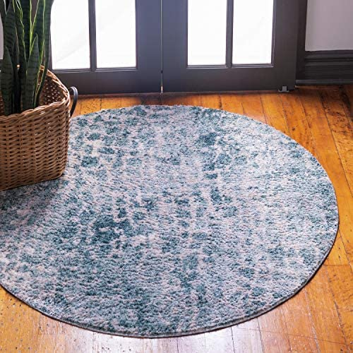 Unique Loom Titan Collection Modern Abstract Soft Shaggy Pile Blue Round Rug 8 4 x 8 4
