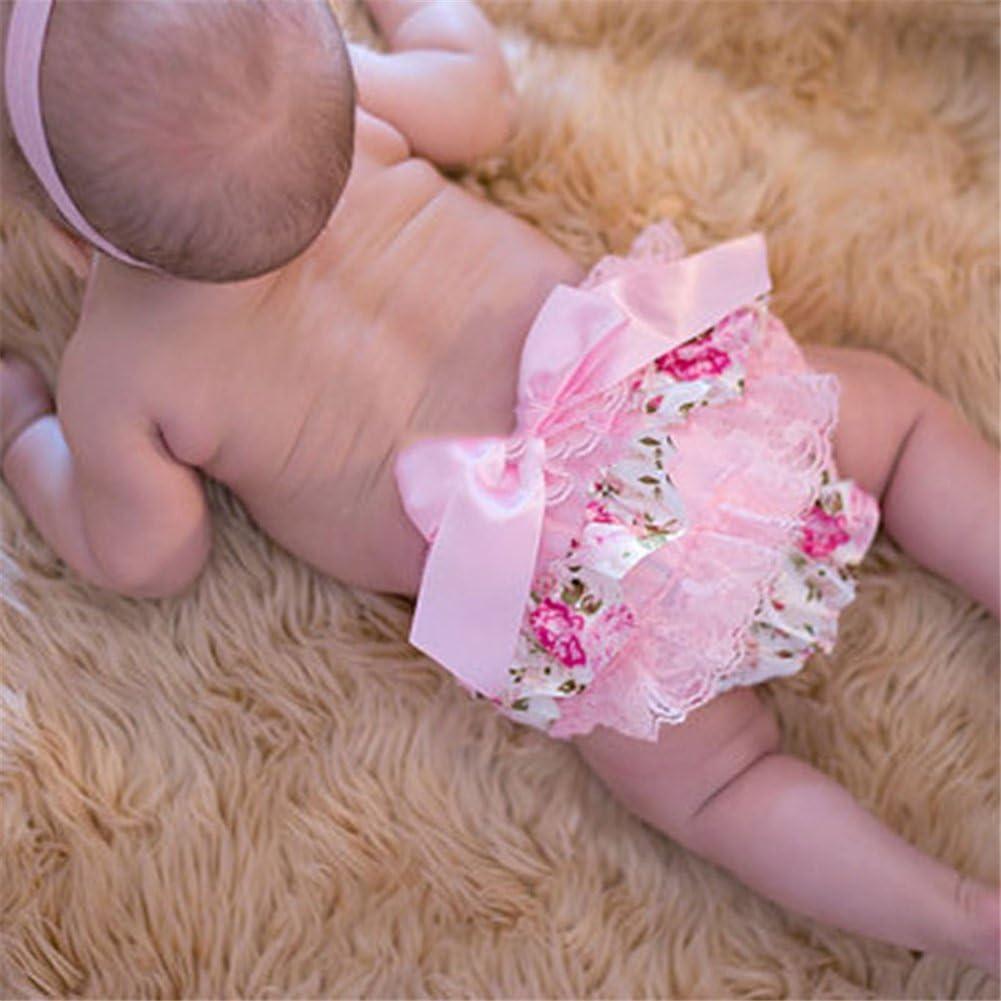 Culotte B/éb/é Fille Satin Floral PP Pantalon Rose Couvre-Couches Dentelle pour 0-3 Ans Prop Photographie Mignon Lace Rose