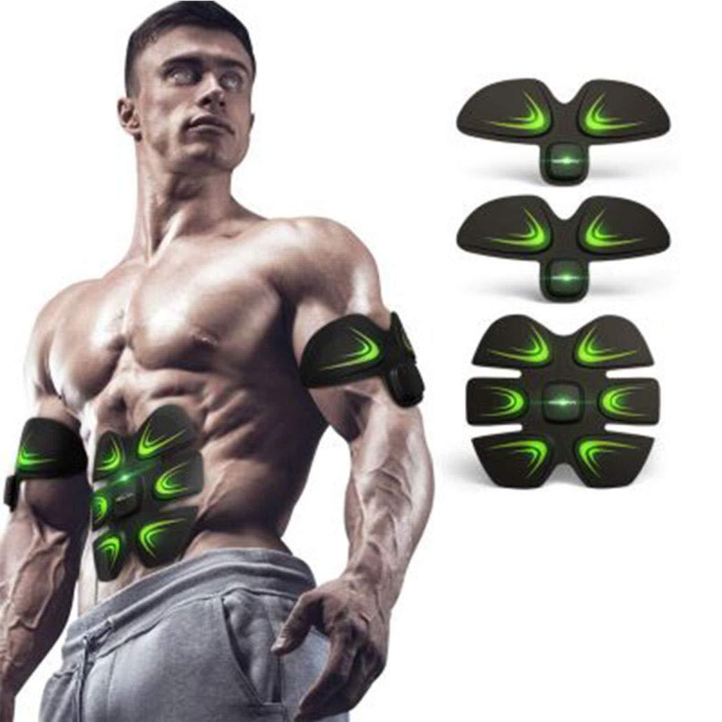 スマートワイヤレス整形器具家庭用腹筋マッサージEMSマイクロ電気痩身腹筋ペースト  ブラック B07QHKXT6Y