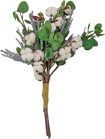 Paquette Industries Ramo de flores artificiales: hojas de eucalipto, tallos de algodón, flores de lavanda Floral, seda, plantas falsas, Magnolia estilo granja. Planta sintética para decoración, bricolaje y boda: Amazon.es: Hogar