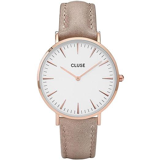 Cluse Reloj Analógico para Mujer con Correa de Cuero - CL18031: Amazon.es: Relojes