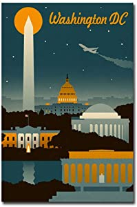 "Washington, DC Retro Skyline Vintage Travel Art Refrigerator Magnet Size 2.5"" x 3.7"""