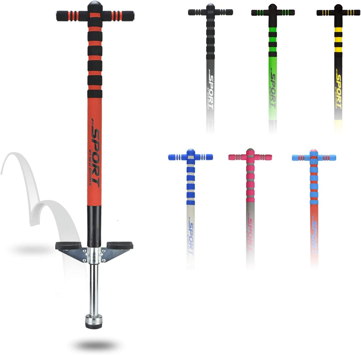 New Bounce Pogo Stick for Kids - Pogo Sticks for Ages 5 and Up, 40 to 80 Lbs - Sport Edition, Quality, Easy Grip, PogoStick for Hours of Wholesome Fun.