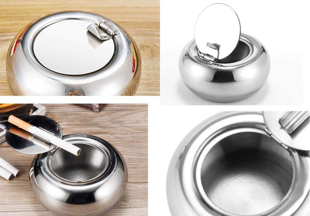 with 12 Pre-Rolled Tips Windproof Ashtray for Indoor or Outdoor ZLKSKER Stainless Steel Ashtray with Lid