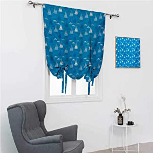 """GugeABC Patio Door Curtains Ship Room Darkening Roman Shades Illustration of Sailboat Silhouettes in Constrast Floating on Water with Comma Waves 39"""" Wide by 64"""" Long Blue White"""
