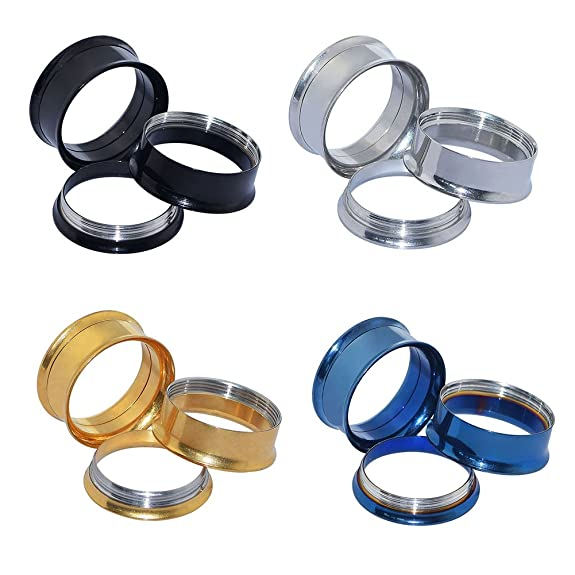 D&M Jewelry 8 Piezas de Color Negro/Azul/Dorado/Plateado 00g(10mm) Roscado Expansor de Tunel de Acero Inoxidable Ear Plug Piercing: Amazon.es: Joyería