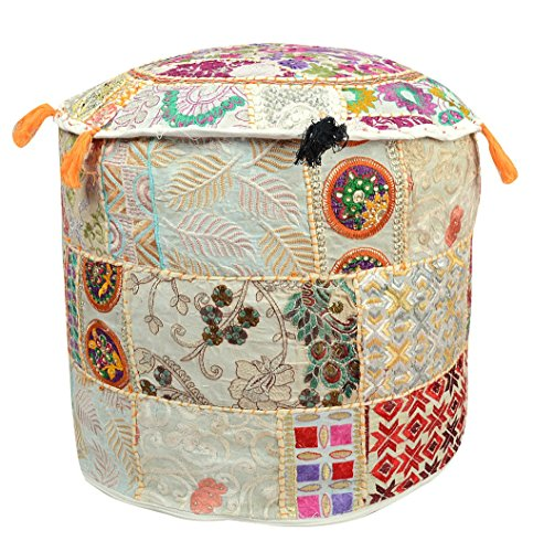 Indian 18x14'' Vintage Patchwork Bohemian Patchwork Ottoman 100% Cotton Traditional Vintage Indian Round Pouf Floor Cushion Cover / Chair Cover / Decorative Foot Stool - Only Cover, Filler not Included by iinfinize