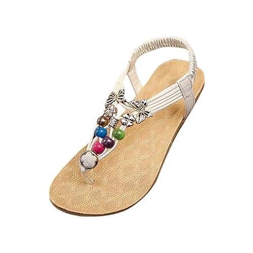 Sandalias para Mujer, RETUROM Nuevas sandalias rebordeadas dulces de Bohemia del verano clip de las sandalias del dedo del pie de la playa (36, Blanca)