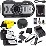 Ricoh WG-5 GPS Digital Camera (Gunmetal) 04653 + D-LI92 Battery + External Charger + 64GB SDXC Card + Case + Mini HDMI Cable + Floating Strap + Card Reader + Memory Card Wallet Saver Bundle