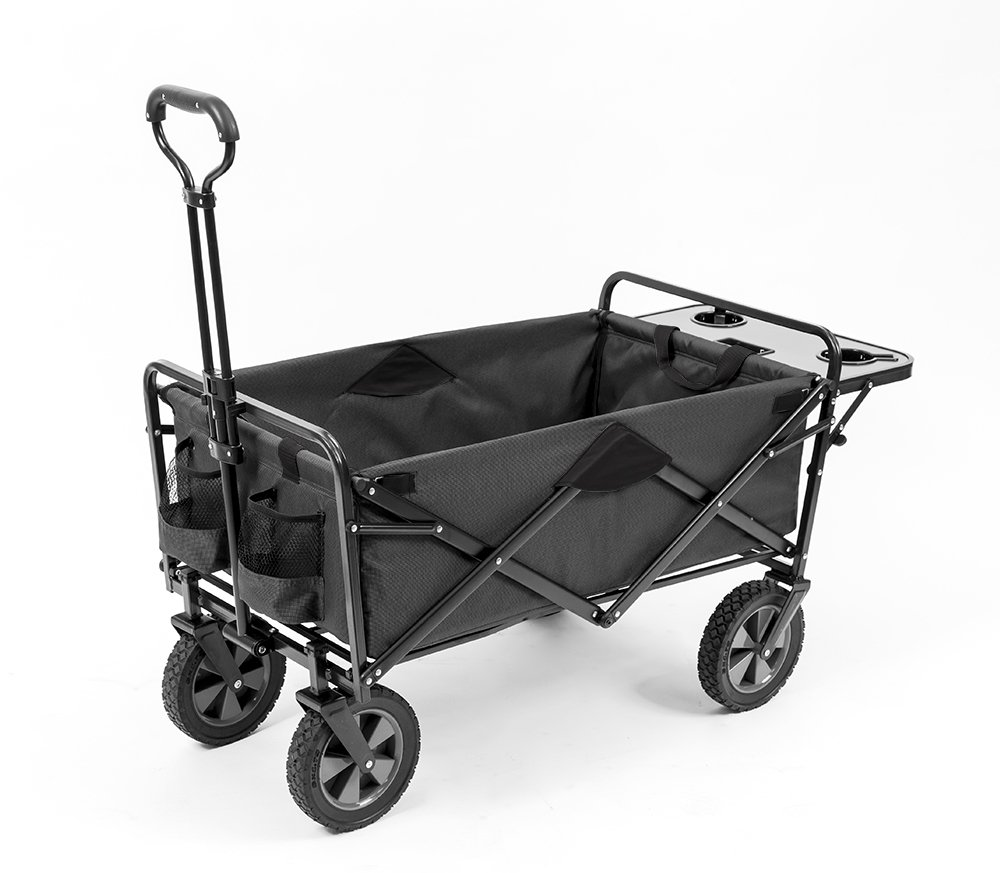 Mac Sports Collapsible Outdoor Utility Wagon with Folding Table and Drink Holders, Gray by Mac Sports