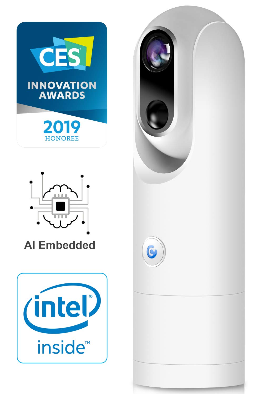 Wireless Home Security AI Camera - 1080P FHD Wi-Fi Battery-Powered Surveillance Camera System, Person Detection, Face Recognition, Low False Alarm, Night Vision, 2-Way Audio, Free 8GB Storage - White