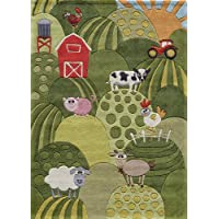 Momeni Rugs LMOJULMJ11GRS3050 Lil Mo Whimsy Collection, Kids Themed Hand Carved & Tufted Area Rug, 3 x 5, Grass Green