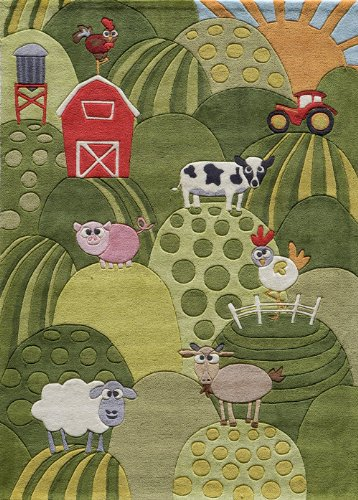 Momeni Rugs LMOJULMJ11GRS4060 Lil' Mo Whimsy Collection, Kids Themed Hand Carved & Tufted Area Rug, 4' x 6', Grass Green ()