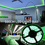 MIHAZ LED 2835 Light strips 16.4ft 5M 300 Leds Outdoor Lights Waterproof Green Led Strips Lighting Power Supply White PCB For Home and Kitchen Decorat
