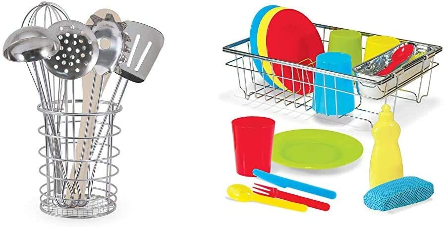 Melissa & Doug Stir & Serve Cooking Utensils & Wash & Dry Dish Set,Multi Colored