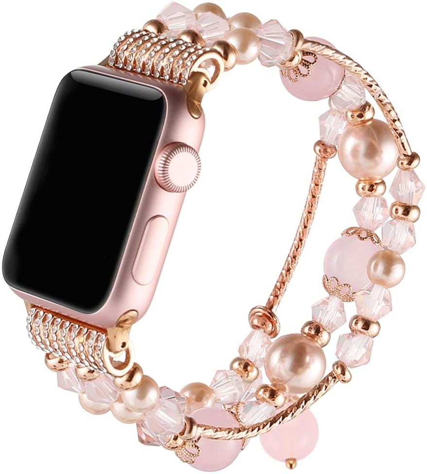 Suppeak Band Compatible with Apple Watch 42mm 44mm, Women Girl Elastic Handmade Pearl Bracelet Replacement for 42mm Apple Watch Series 5 4 3 2 1,Pink