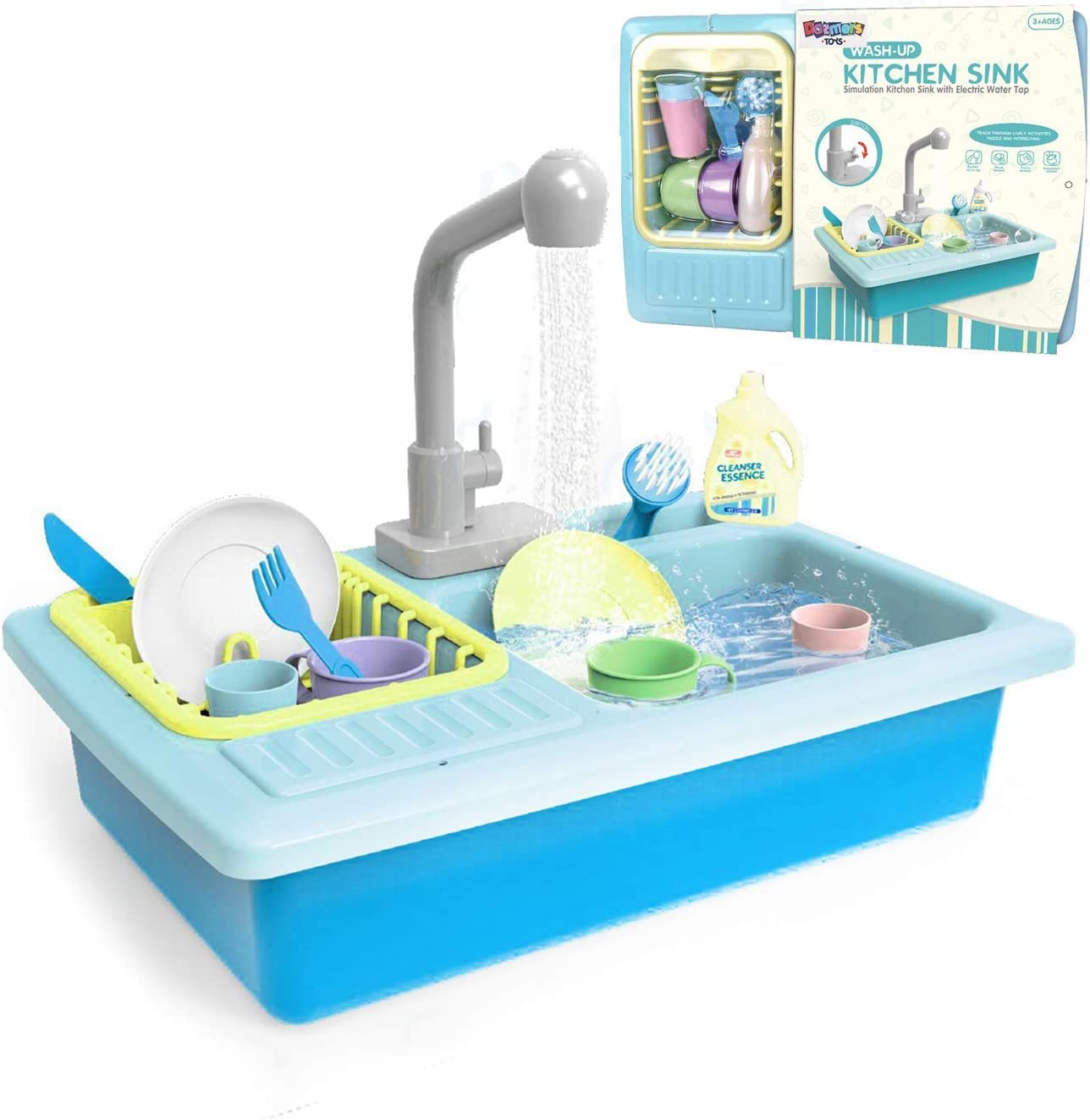 Amazon Com Toy Sink With Running Water And Dishes For Kids 16 Kitchen Sink Recycles Water Through Working Faucet Playset Includes Cups Glasses Plates Knife Fork Brush Soap Dish Rack For