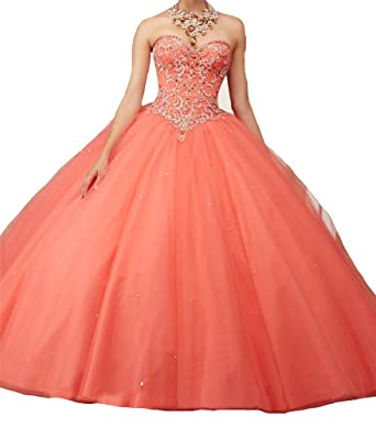 Yang Sweet 16 Vestidos 15 Women Beaded Pageant Quinceanera Dresses Waistcoat 0 US Coral