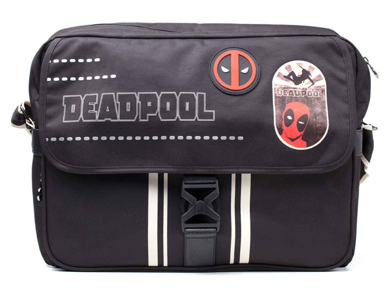 Deadpool Messenger Bag Face Icon Logo Official Marvel Black