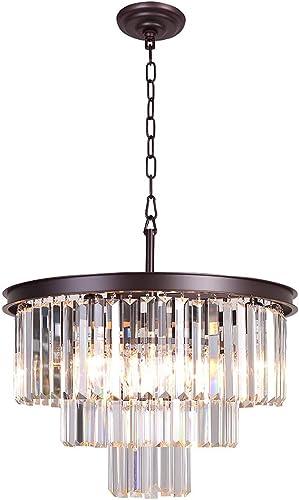 Meelighting Bronze Modern Contemporary Crystal Chandeliers Lights Pendant Ceiling Chandelier Lighting Fixture 3-Tier