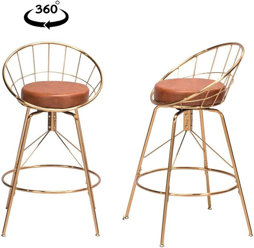 26 inch Swivel Bar Stools Upholstered Counter Height Barstools with Backs Metal Bar Chairs Set of 2 Gold
