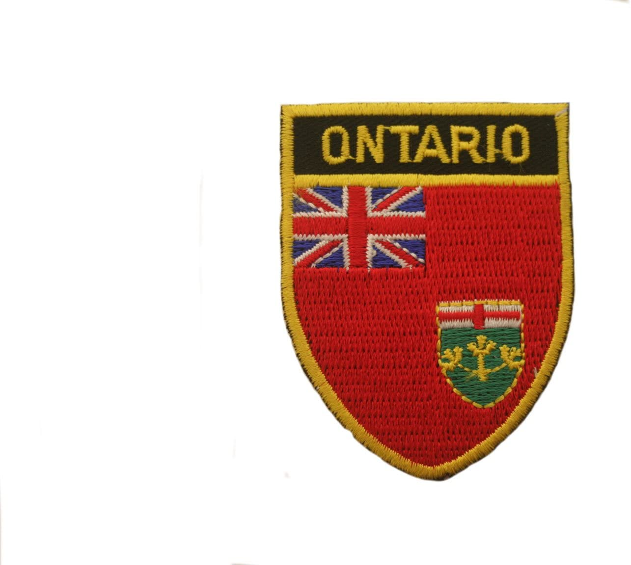 ONTARIO Shield Shape With Black Trim Flag Iron-On PATCH CREST BADGE..New