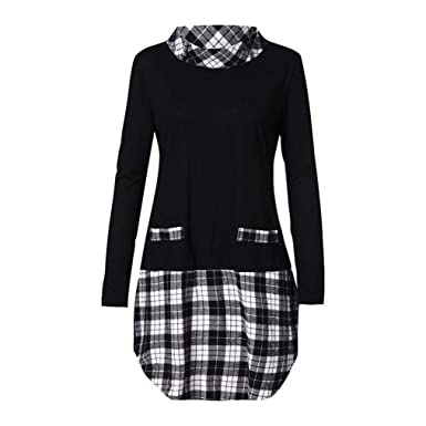 763df049cbcfa Sale Women's Blouse Sunday77 Tops Daily Plaid Plus Size A-Line Long Length  Patchwork Full Sleeve T Shirts Casual Shirt for Ladies