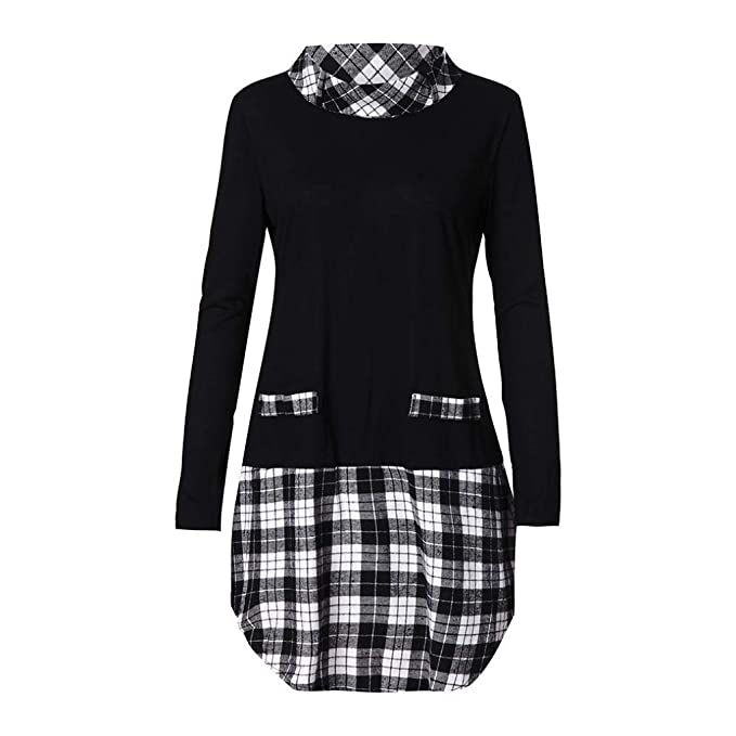 24cacb9e3bd0 Sale Women s Blouse Sunday77 Tops Daily Plaid Plus Size A-Line Long Length  Patchwork Full Sleeve T Shirts Casual Shirt for Ladies
