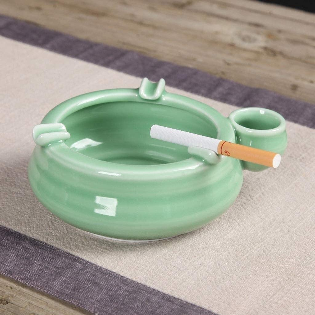 灰皿、青磁灰皿セラミッククリエイティブファッション防風灰皿リビングルームオフィス灰皿ヨーロッパの灰皿