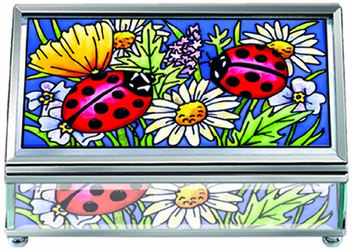 Amia Rectangular Beveled Glass Jewelry Box with Hand-Painted Ladybug Design, 5 by 2 by 3-Inch, Medium