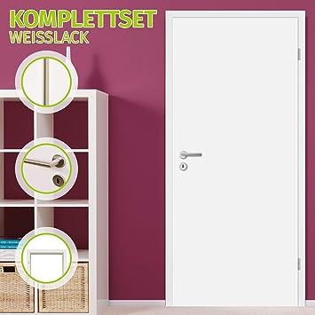 HORI® - Juego completo de puerta para habitación, con marco y tirador de puerta, puerta interior