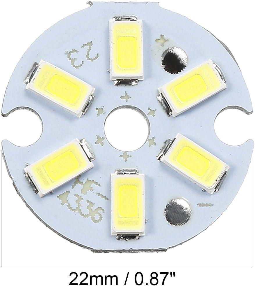 uxcell 300mA 3W 6 LEDs 5730 SMD LED Chip Module Aluminum Board Pure White Super Bright 22mm Dia 5pcs
