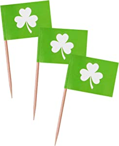 Donoter 100 Pcs St.Patrick's Day Shamrock Flag Cupcake Picks Green Lucky Clover Irish Flag Food Picks for St Patrick's Day Party Celebration Events