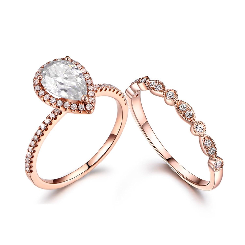 2pcs 5x7mm Pear Cut Moissanite Halo Ball Prong Ring Set,14k Rose Gold Marquise Milgrain Deco Diamond Band