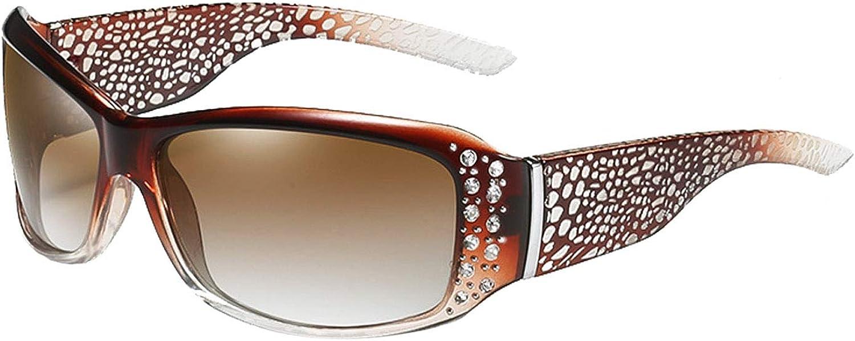 Bsofen Rectangle Sunglasses Rhinestones, Wrap Around Narrow Pattern Eyewear Polarized UV Protection