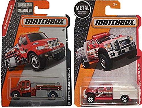 Matchbox Fire Engine Set: Ford F-550 Super Duty & Freightliner M2 106 2-Car Set